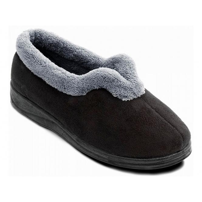 Padders CARMEN Ladies Microsuede Extra Wide (EE) Fitting Full Slippers Black