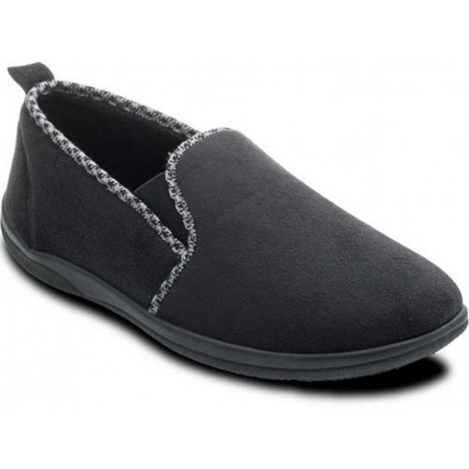 Padders LEWIS Mens Microsuede Wide (G) Fitting Full Slippers Black