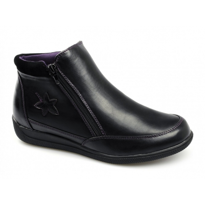 Dr Keller NANCY Ladies Zip Dual Fit Wide EE/EEE Boots Black
