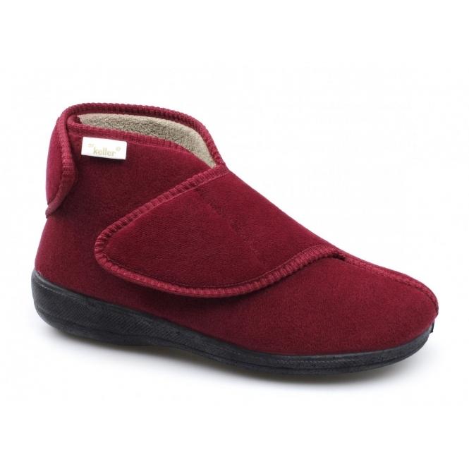 Dr Keller AILEEN Ladies Velour Touch Fasten Boot Slippers Red
