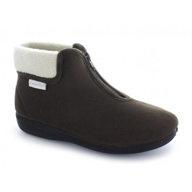 Comfort Plus DEB Ladies Velour Warm Zip Boot Slippers Brown