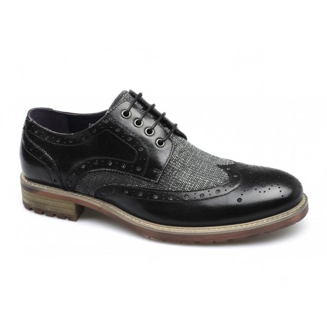 Gucinari QUINTON Mens Leather Brogue Wingtip Shoes Black
