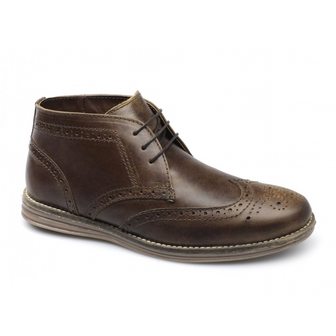 Red Tape MAYO Mens Leather Brogue Desert Boots Tan