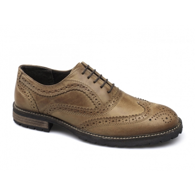 Red Tape BARROW Mens Leather Lace Up Brogues Red Brown