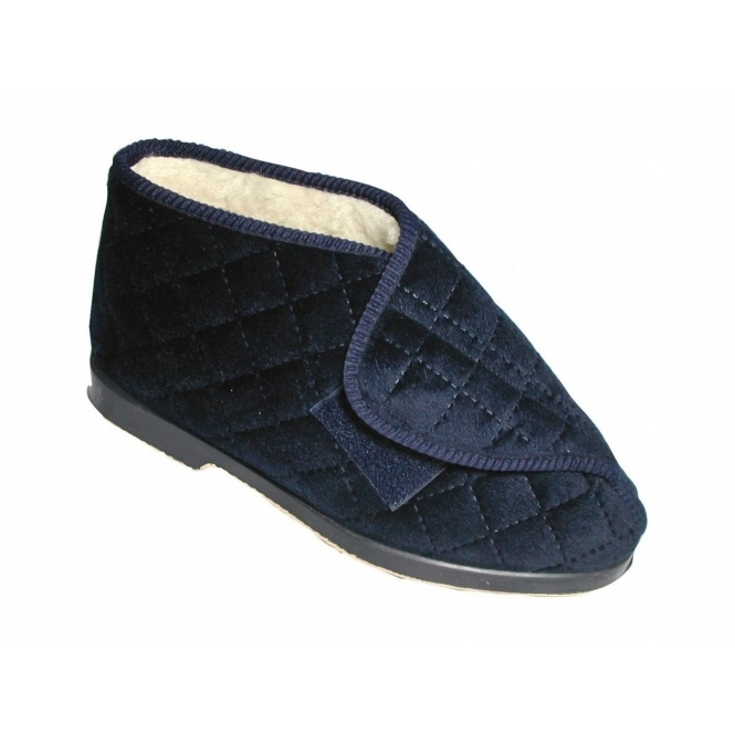 Great British Slippers STOCKHOLM Ladies Wide Fitting Warm Lined Bootie Slippers Navy