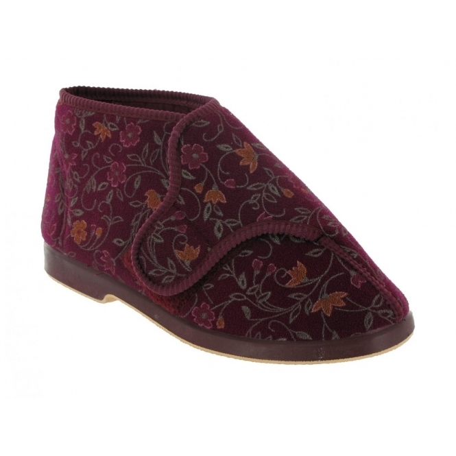 Great British Slippers BELLA Ladies Extra Wide (E+) Fit Bootie Slippers Wine