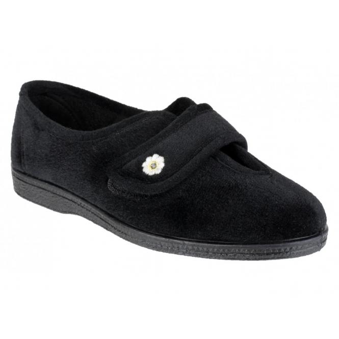 Mirak ANDREA Ladies Velcro Slippers Black