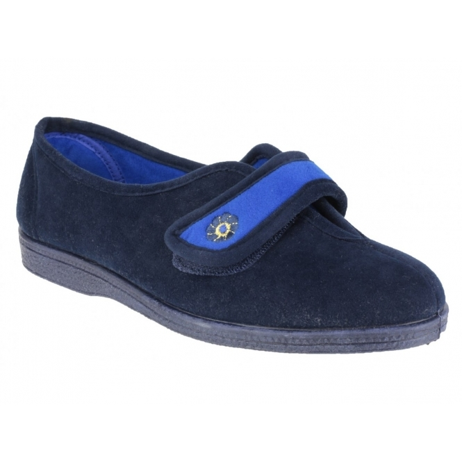Mirak ANDREA Ladies Velcro Slippers Navy