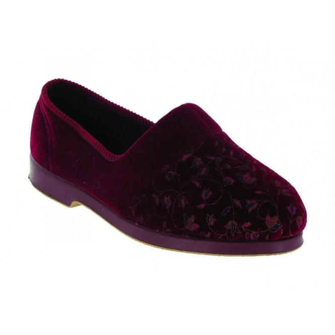 Great British Slippers ZOLA Ladies Extra Wide Fit Floral Slippers Red