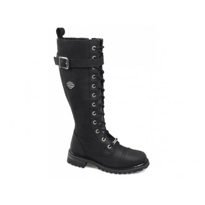 Harley Davidson SAVANNAH Ladies Leather Knee High Biker Boots Black