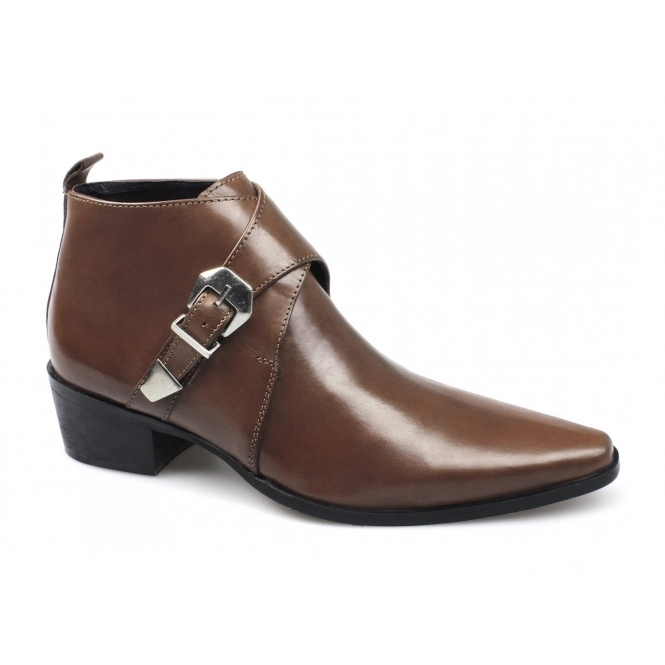 Gucinari BERTRAM Mens Leather Cuban Heel Buckle Boots Tan