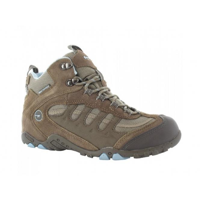 Hi-Tec PENRITH MID WP Ladies Waterproof Hiking Boots Brown/Light Blue