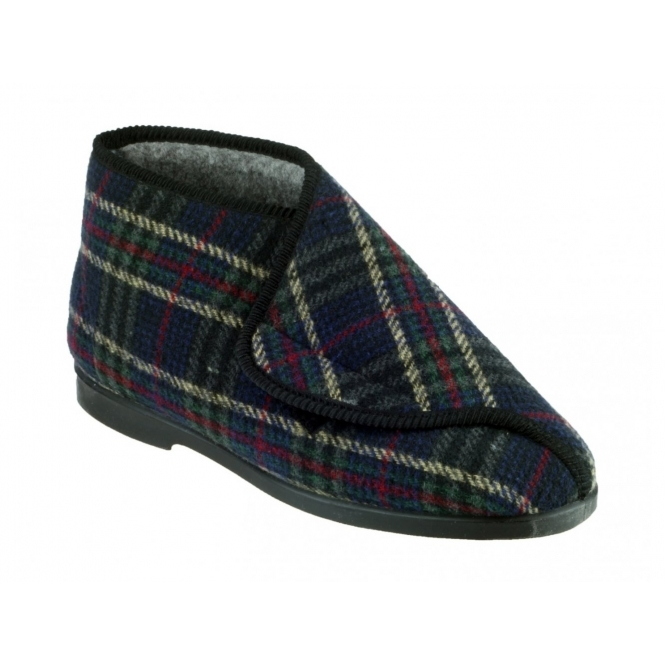 Great British Slippers WILLIAM Mens Soft Touch Fastening Bootie Slippers Check
