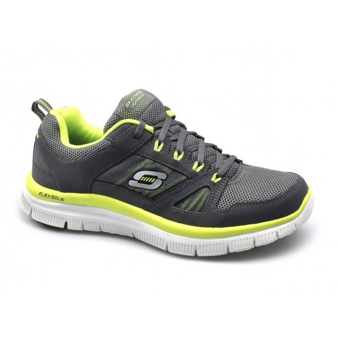 Skechers FLEX ADVANTAGE Mens Sport Fitness Trainers Charcoal/Lime