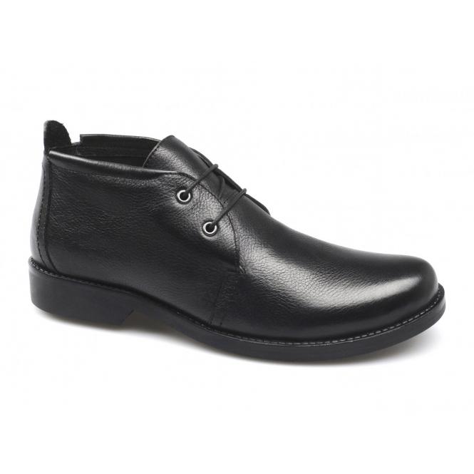 Lucini ALAIN Mens Leather Low Cut Chukka Boots Black