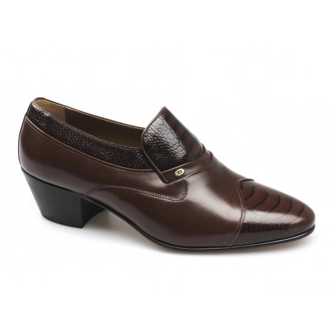 Shuperb KIKO Mens Soft Leather Reptile Cuban Heel Shoes Tan Brown