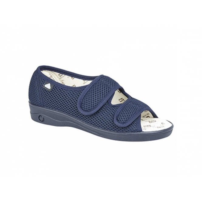Celia Ruiz 214 Ladies Extra Wide (EEE) Fit Touch Fastening Slippers Navy