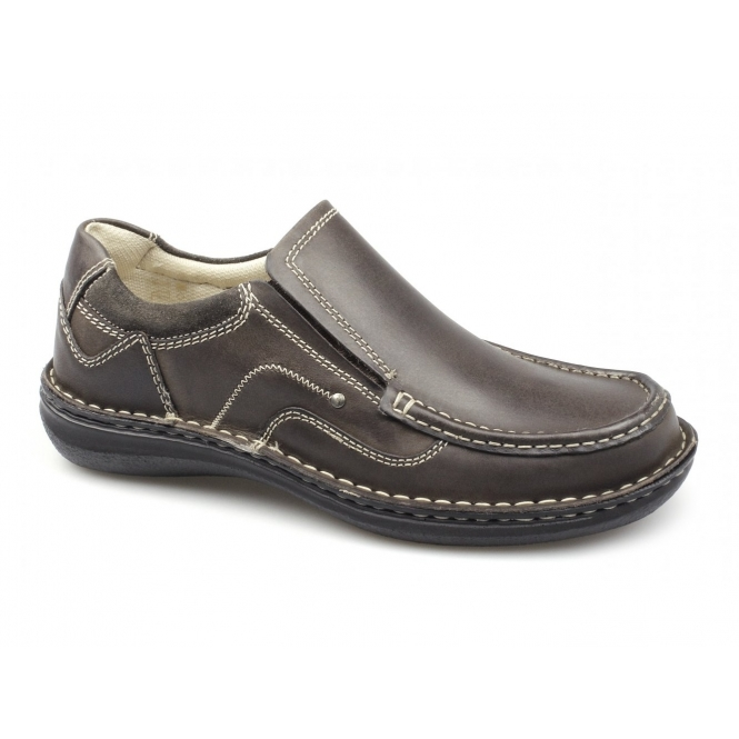 Dr Keller NEPTUNE Mens Leather Slip On Shoes Brown
