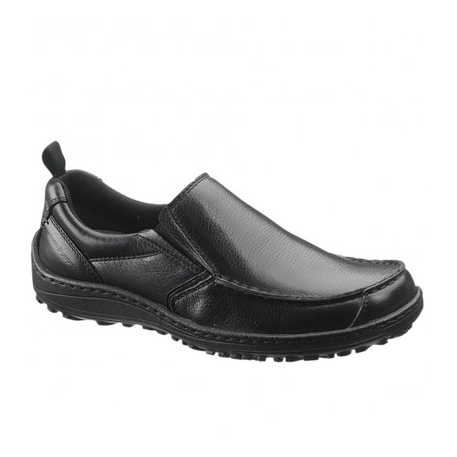 Hush Puppies BELFAST SLIP ON MT Mens Casual Leather Dual Fit Shoes Black
