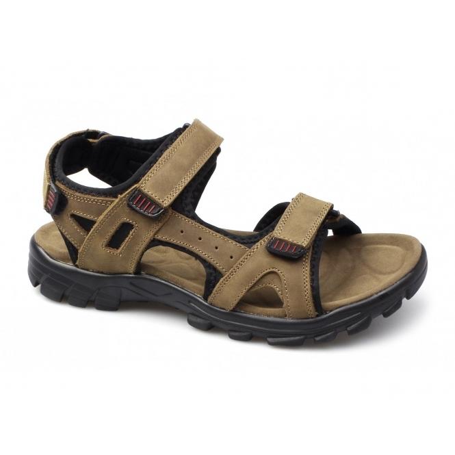Amblers KARL Mens Triple Velcro Nubuck Sports Sandals Brown