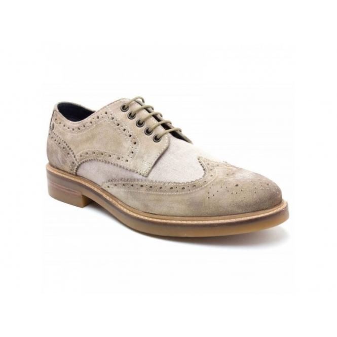 Base London WOBURN Mens Suede Canvas Brogue Shoes Sand