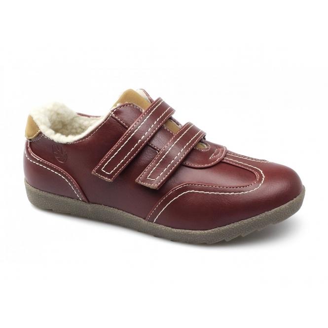 Natrelle ELM Ladies Faux Leather Velcro Fleece Lined Shoes Red