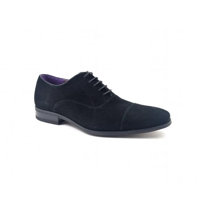 Gucinari PETRUS Mens Suede Cap Toe Oxford Shoes Black