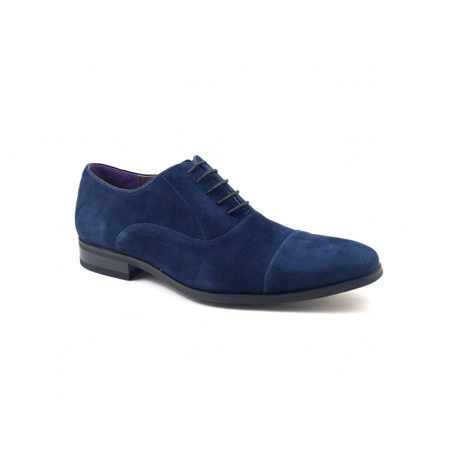 Gucinari PETRUS Mens Suede Cap Toe Oxford Shoes Navy