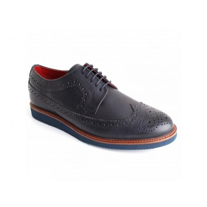 Base London CARLTON Mens Grain Leather Brogue Shoes Blue