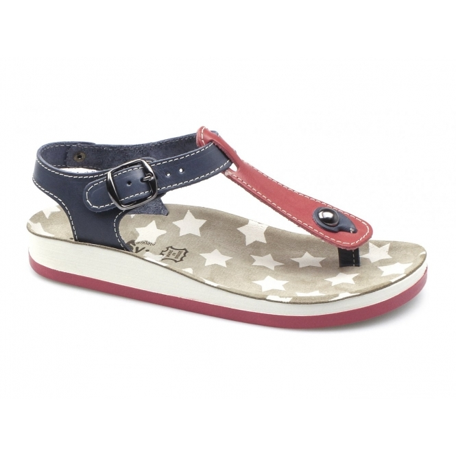Fantasy Sandals KEFELONIA Ladies Toe Post Flat Sandals Red/Blue