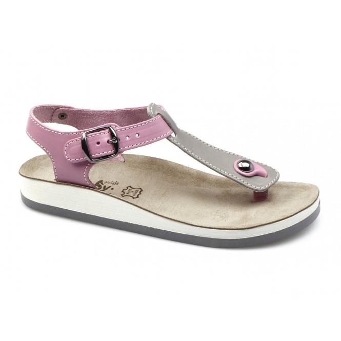 Fantasy Sandals ZANTE Ladies Toe Post Flat Sandals Grey/Pink