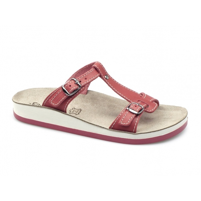 Fantasy Sandals ARILLAS Ladies T-Strap Slip On Sandals Red