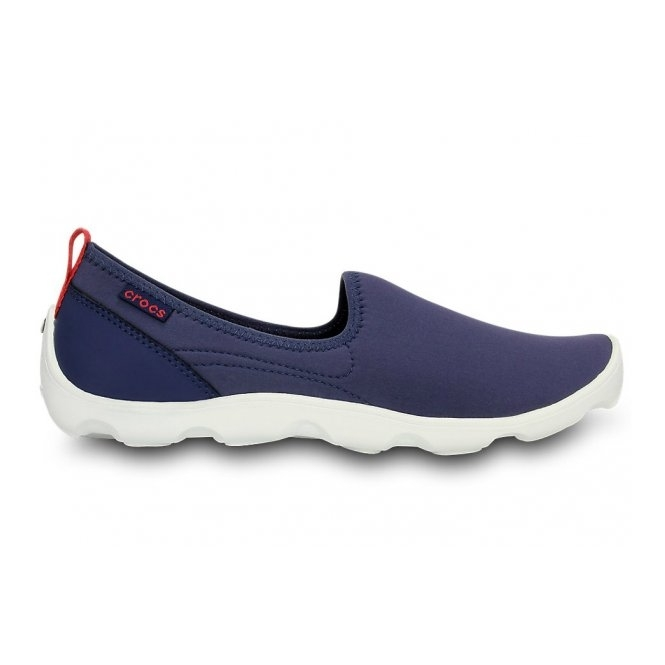 Crocs DUET BUSY DAY SKIMMER Ladies Walking Trainers Navy/White