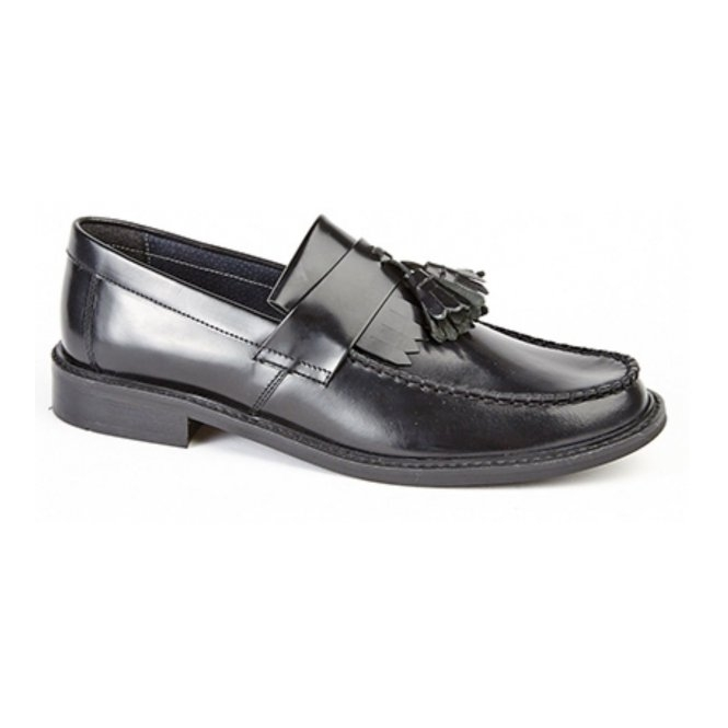 Roamers RUDEBOYZ Mens Polished Leather Tassel Loafers Black
