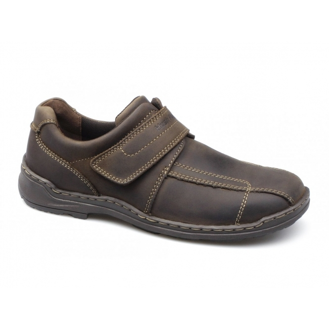 Hush Puppies GROUNDS VELCRO Mens Waxy Leather Dual Fit Shoes Brown