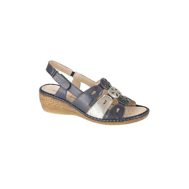 Boulevard LANA Ladies Open Sandals Navy/Silver