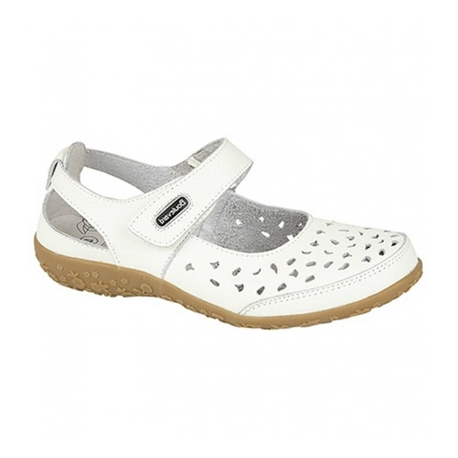 Boulevard PIPPI Ladies Leather Cut-Out Velcro Sandals White