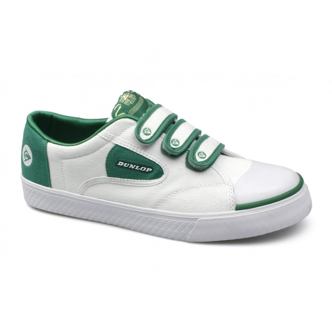 Dunlop GREEN FLASH Unisex Velcro Retro Trainers White/Green