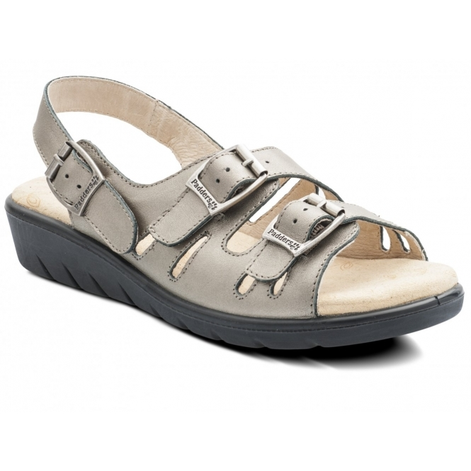 Padders PHOENIX Ladies Leather Wide E Fit Buckle Sandals Pewter