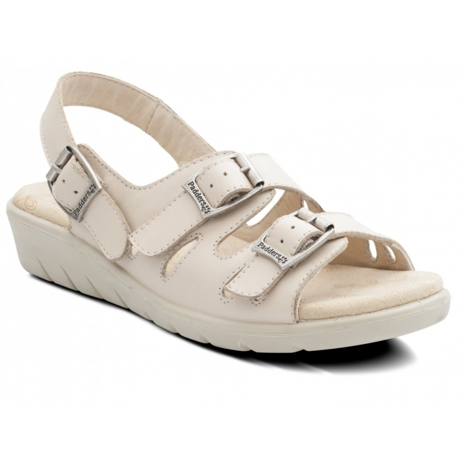 Padders PHOENIX Ladies Leather Wide E Fit Buckle Sandals Oyster