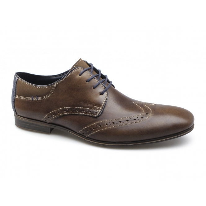 Rieker 11305-26 Mens Leather Lace-Up Brogue Shoes Brown/Blue