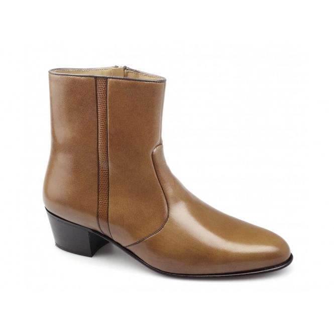 Paco Milan VALENTINO Mens Leather Cuban Heel Zip Boots Armangnac