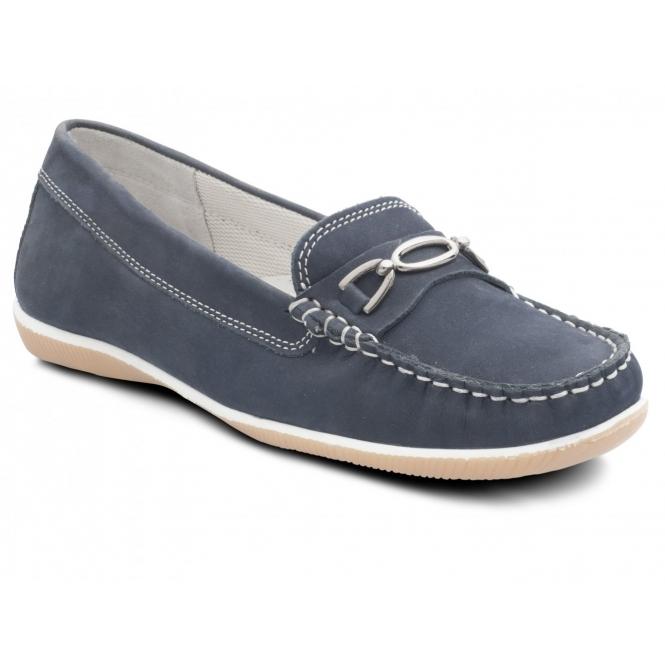 Padders BRIGHTON Ladies Nubuck Wide Moccasin Loafers Navy