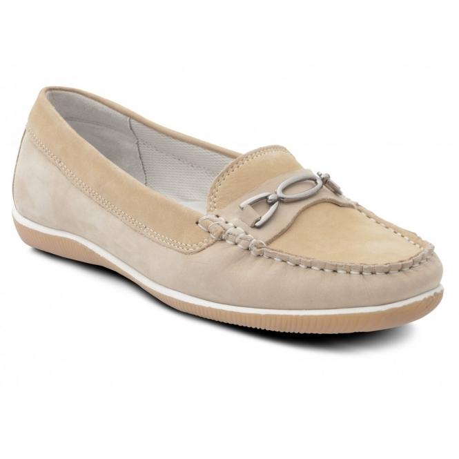 Padders BRIGHTON Ladies Nubuck Wide Moccasin Loafers Honey/Beige