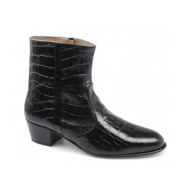 Paco Milan VALENTINO Mens Leather Croc Pattern Cuban Heel Zip Boots Black