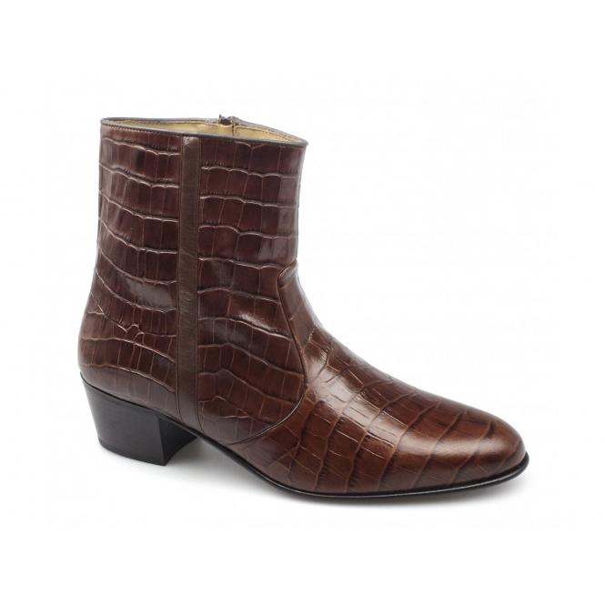 Paco Milan VALENTINO Mens Leather Croc Pattern Cuban Heel Zip Boots Brown
