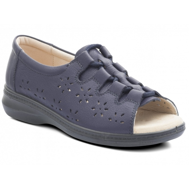 Padders COAST Ladies Leather Extra EE Wide Lace Up Sandals Navy