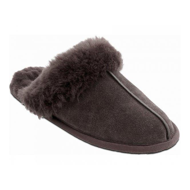 Padders APRES Ladies Suede Extra Wide Fit Lined Mule Slipper Dark Brown