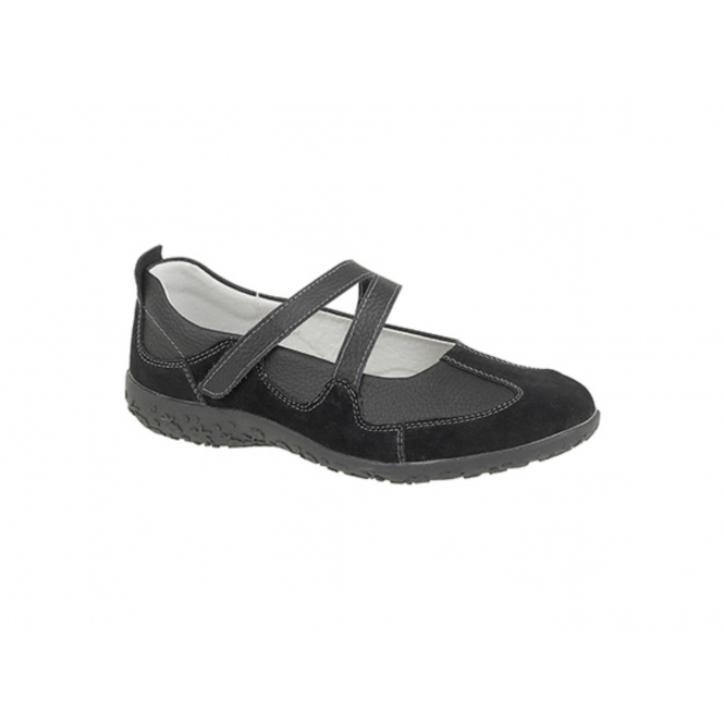 Boulevard LUCY Womens Soft Leather Extra Wide EEE Velcro Mary Janes Black