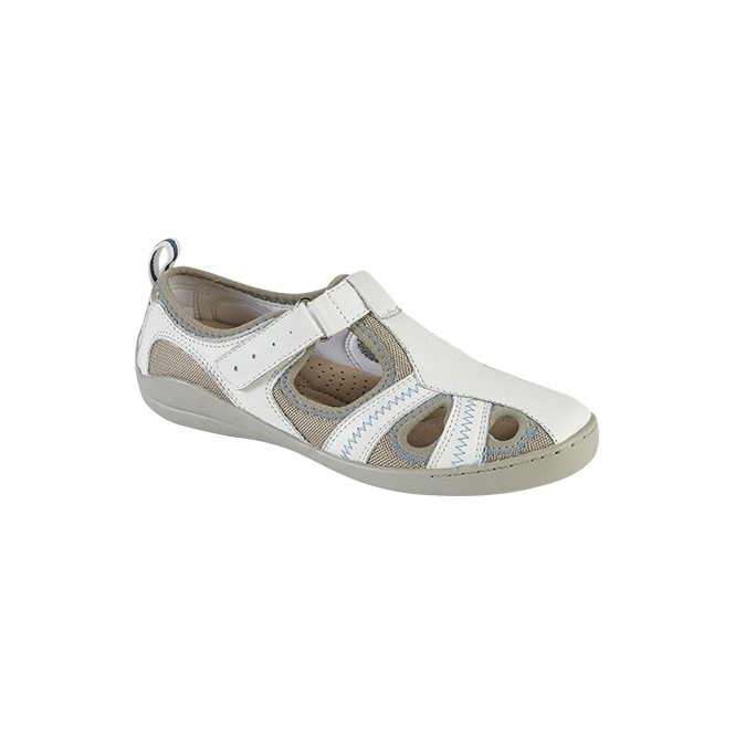 Boulevard MAGDA Ladies Leather Velcro Sandals White
